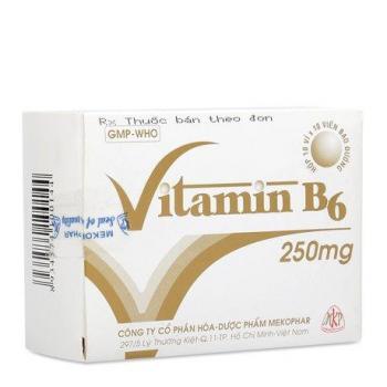 Thuốc điều trị thiếu Vitamin B6, thiếu máu di truyền Vitamin B6 250mg (10 vỉ x 10 viên/hộp)
