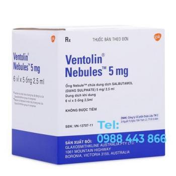 Ventolin Nebules 5mg (6 vỉ x 5 ống 2.5ml/hộp)