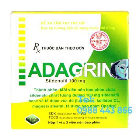 Adagrin 100mg (1 vỉ x 3 viên/hộp)